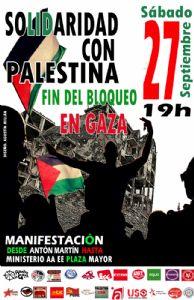 El 27 de septiembre nos manifestamos en solidaridad con Palestina y por el fin de bloqueo a Gaza